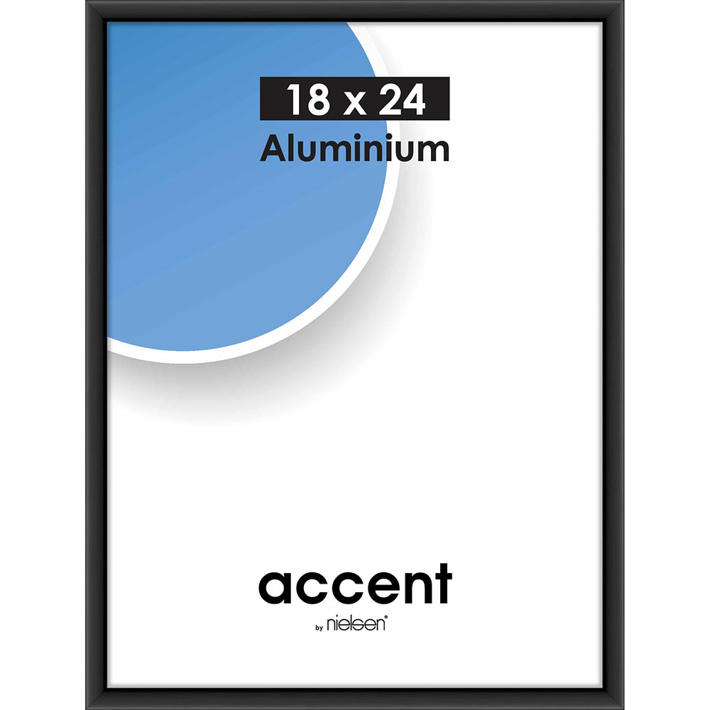 Alurahmen Accent Schwarz matt 18x24 cm