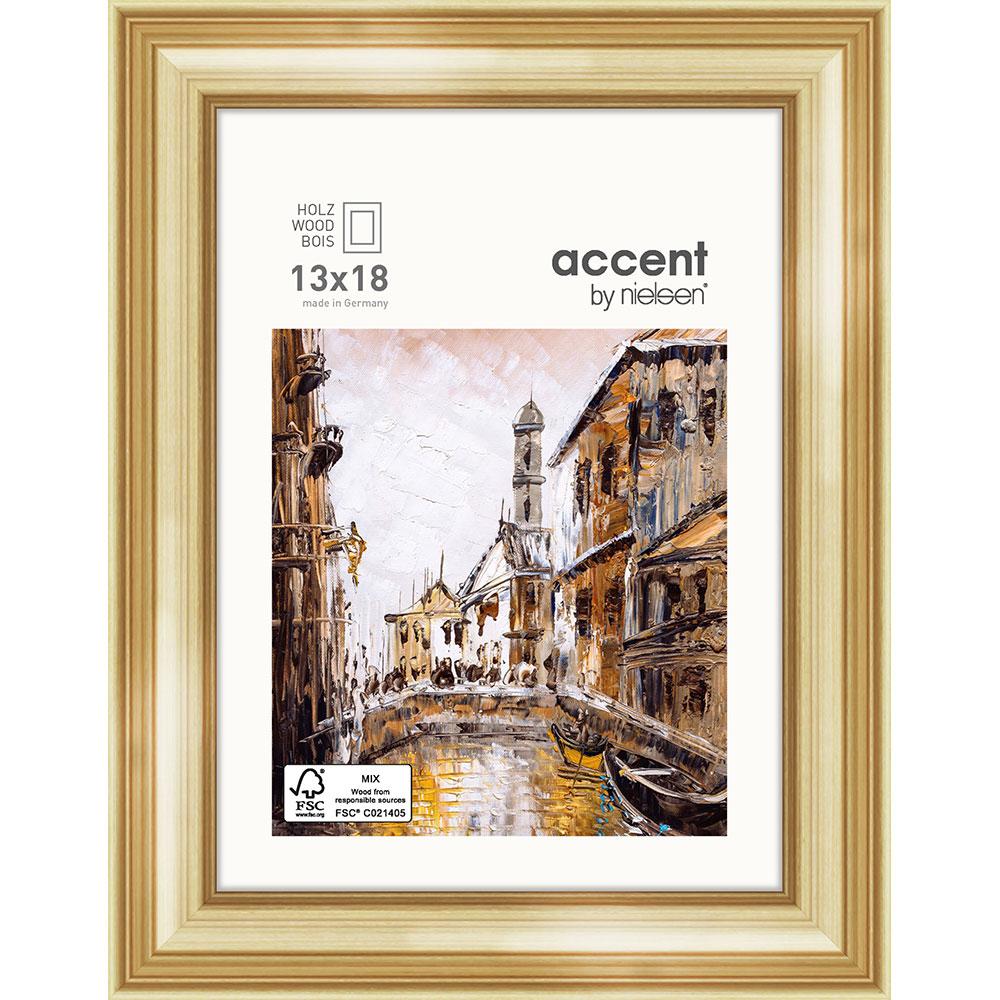 Accent Holz-Bilderrahmen Antigo 13x18 cm - Set - Gold | AllesRahmen.de