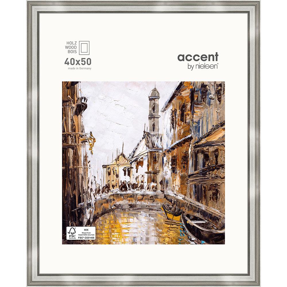 Holz-Bilderrahmen Antigo Silber 40x50 cm