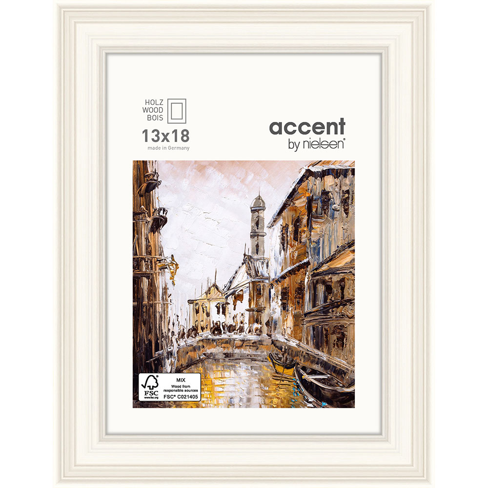 Holz-Bilderrahmen Antigo Weiß 13x18 cm