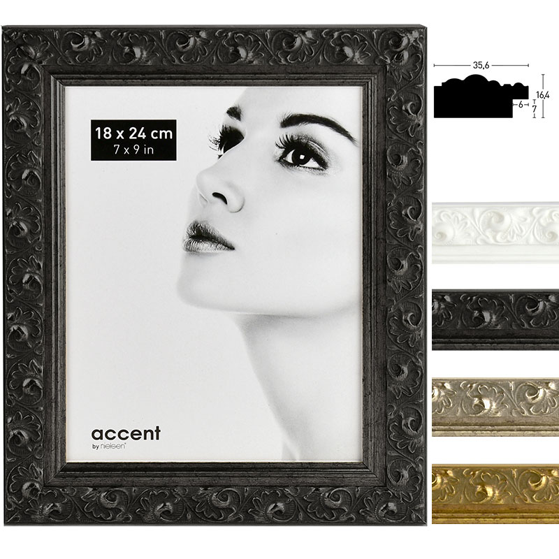 Accent Holz-Bilderrahmen Arabesque 13x18 cm - Schwarz | AllesRahmen.de