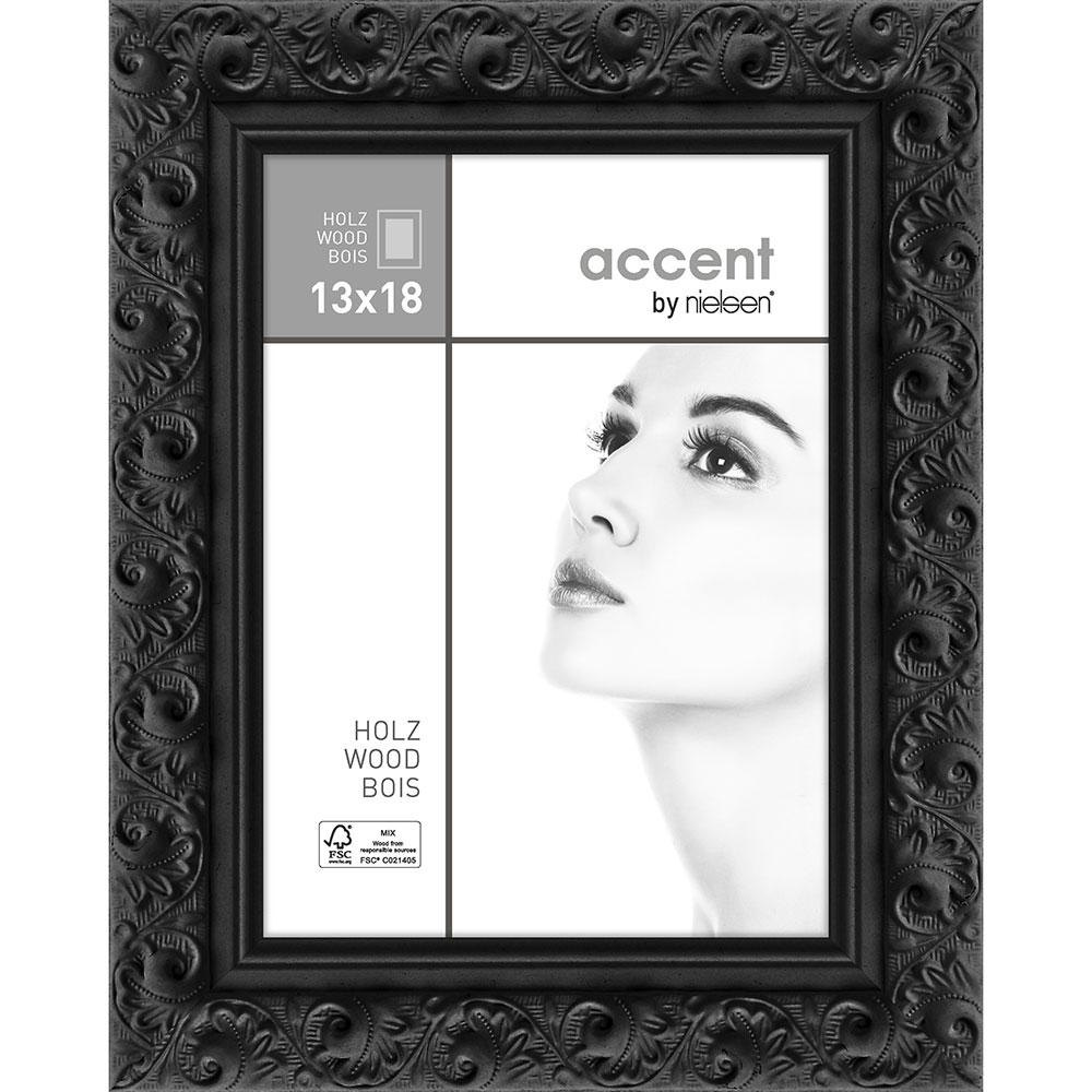 Holz-Bilderrahmen Arabesque Schwarz 13x18 cm