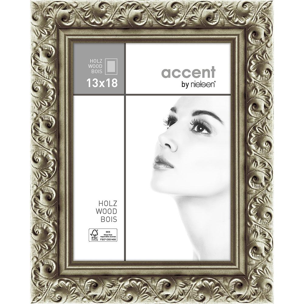 Holz-Bilderrahmen Arabesque Silber 13x18 cm