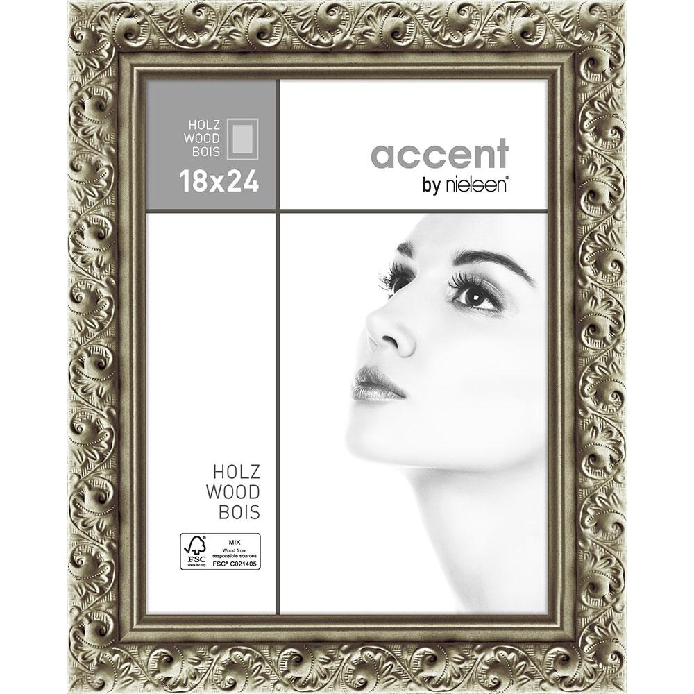Holz-Bilderrahmen Arabesque Silber 18x24 cm