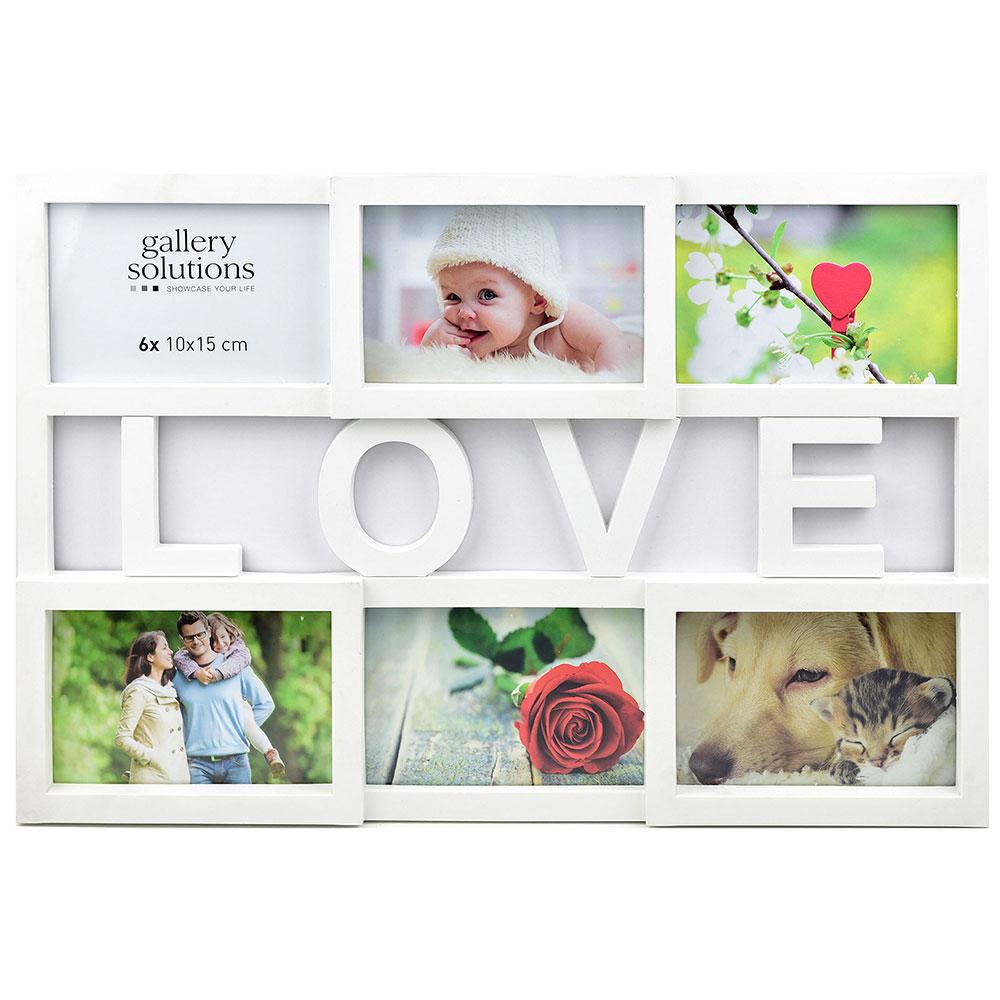 Collage-Bilderrahmen Love weiß