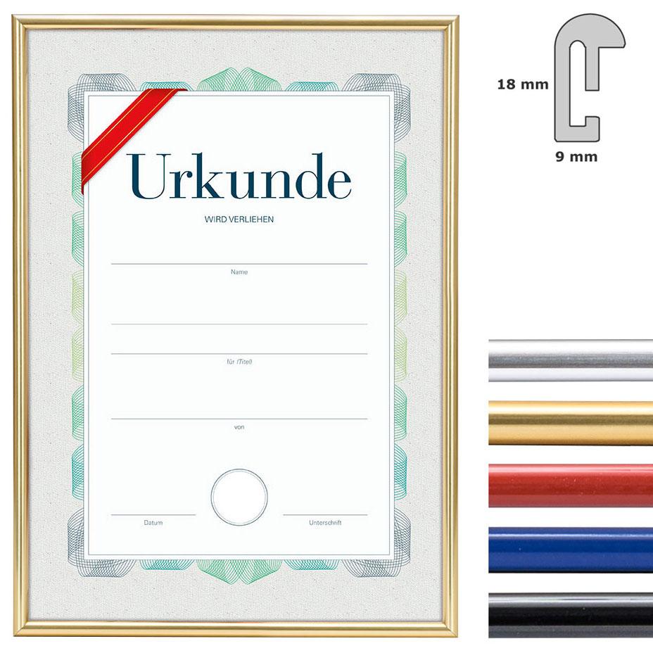 Kunststoffrahmen mit Urkunde, DIN A4