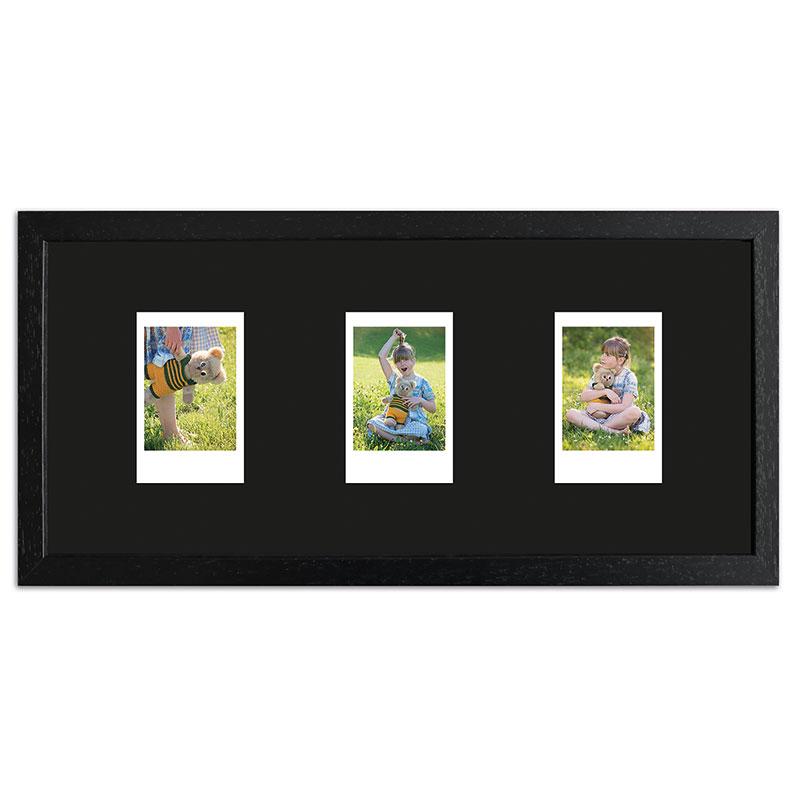 Bilderrahmen für 3 Sofortbilder - Typ Instax Mini Schwarz, gemasert