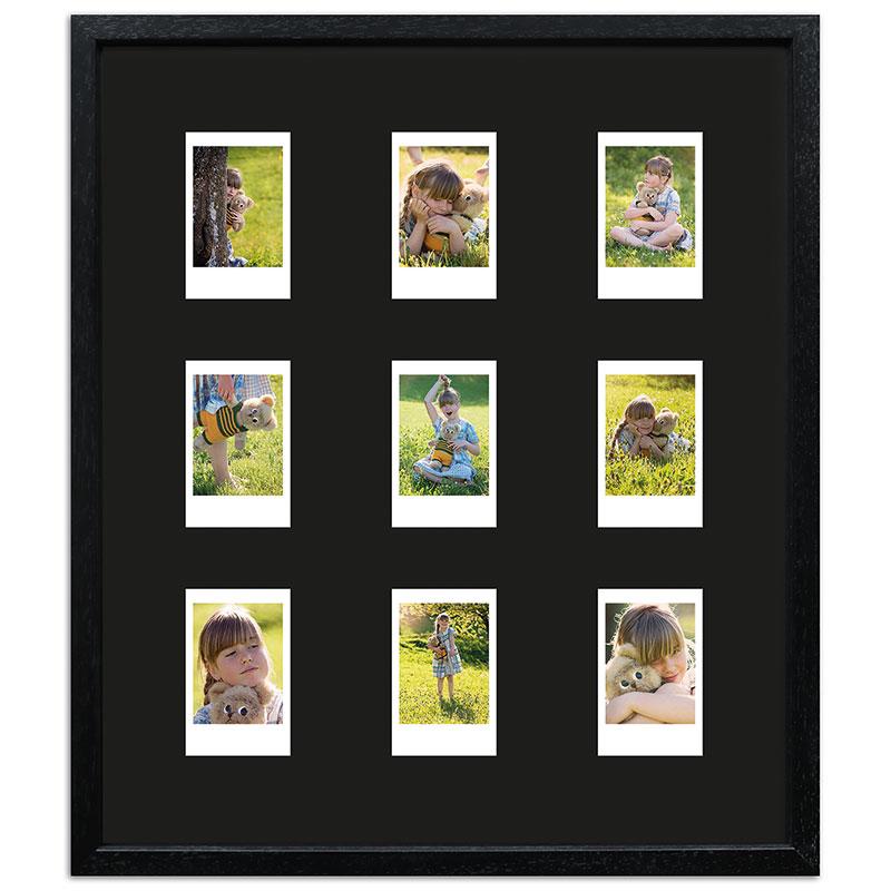 Bilderrahmen für 9 Sofortbilder - Typ Instax Mini Schwarz, gemasert