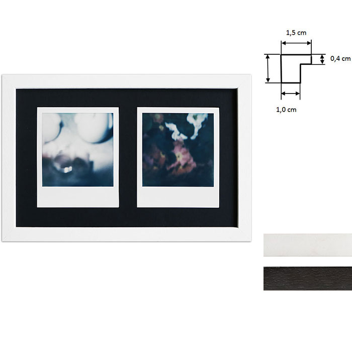 artvera bilderrahmen bilderrahmen f r 2 sofortbilder typ polaroid 600 24 6x15 7 cm schwarz. Black Bedroom Furniture Sets. Home Design Ideas