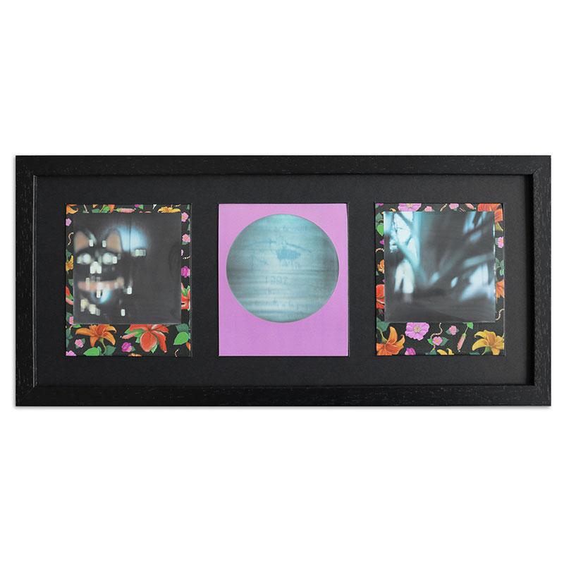 Bilderrahmen für 3 Sofortbilder - Typ Polaroid 600 Schwarz, gemasert