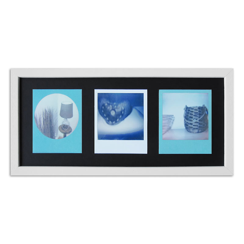 Bilderrahmen für 3 Sofortbilder - Typ Polaroid 600 Weiß, gemasert