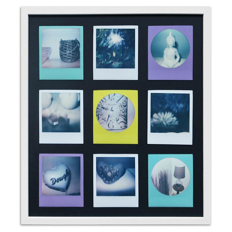 Bilderrahmen für 9 Sofortbilder - Typ Polaroid 600 Weiß, gemasert