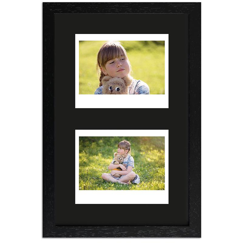 Bilderrahmen für 2 Sofortbilder - Typ Instax Wide Schwarz, gemasert