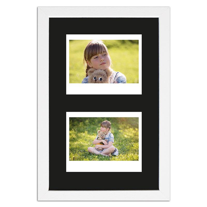 Bilderrahmen für 2 Sofortbilder - Typ Instax Wide Weiß, gemasert