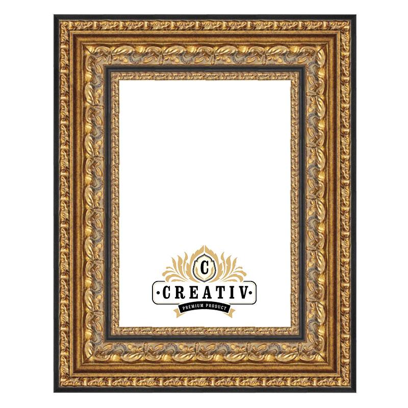Barock Holzbilderrahmen Carrara gold-schwarz
