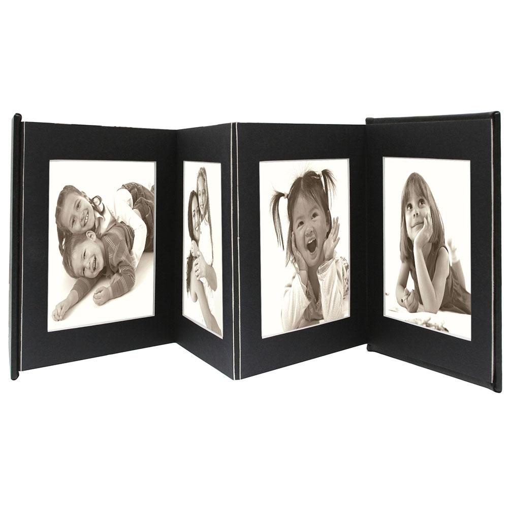 Leporello aus Leder für 8 Bilder Schwarzes Leder