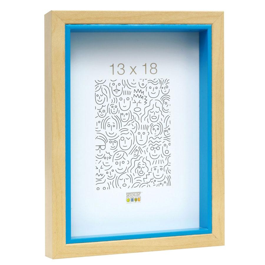 Holz-Bilderrahmen Peer Natur mit blauer Innenkante