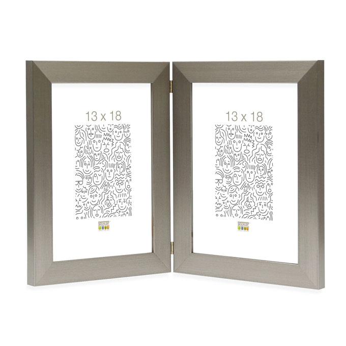 Doppel-Fotorahmen Vorselaar, vertikal Silber