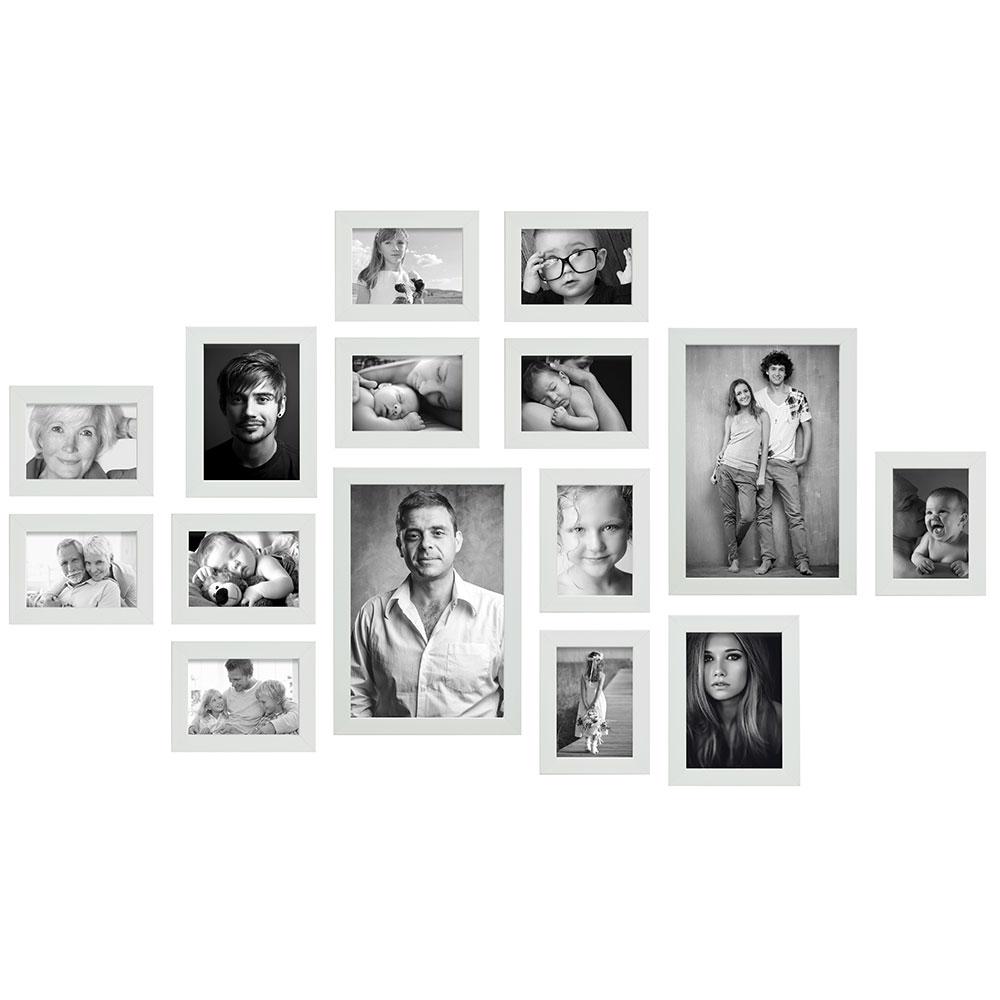 Bilderwand, 15 Rahmen mit praktischem Lineal für die Montage weiß