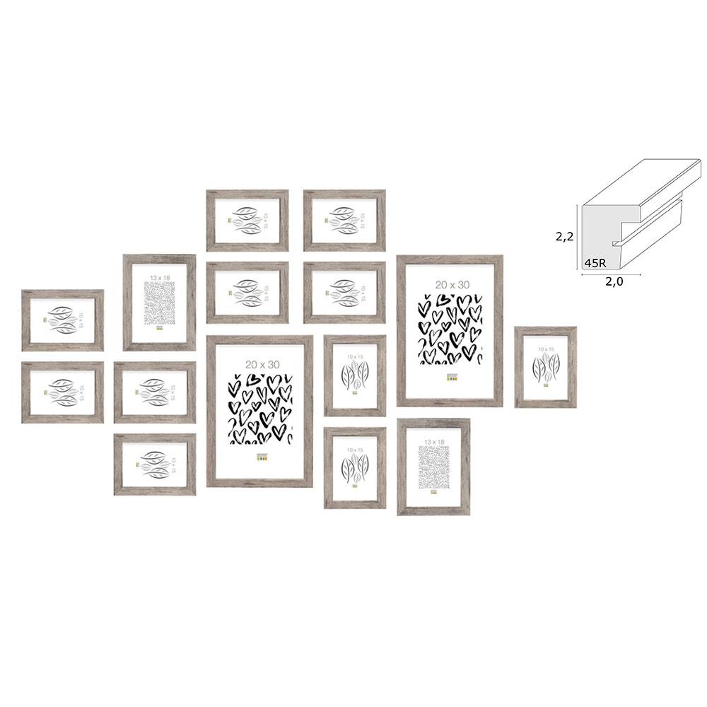 deknudt bilderwand manage f r 15 bilder grau. Black Bedroom Furniture Sets. Home Design Ideas