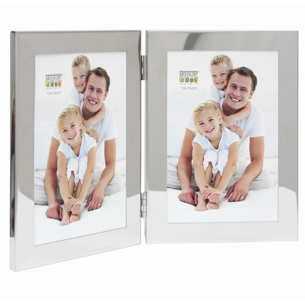 Deknudt Doppel-Fotorahmen, vertikal 10x15 cm - Silber | AllesRahmen.de