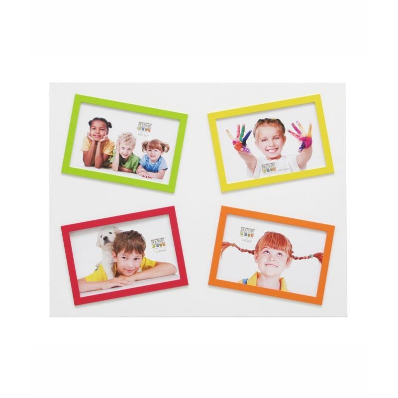 Galeriebilderrahmen Brel (4 Bilder) Weiß/gelb/grün/orange/rot
