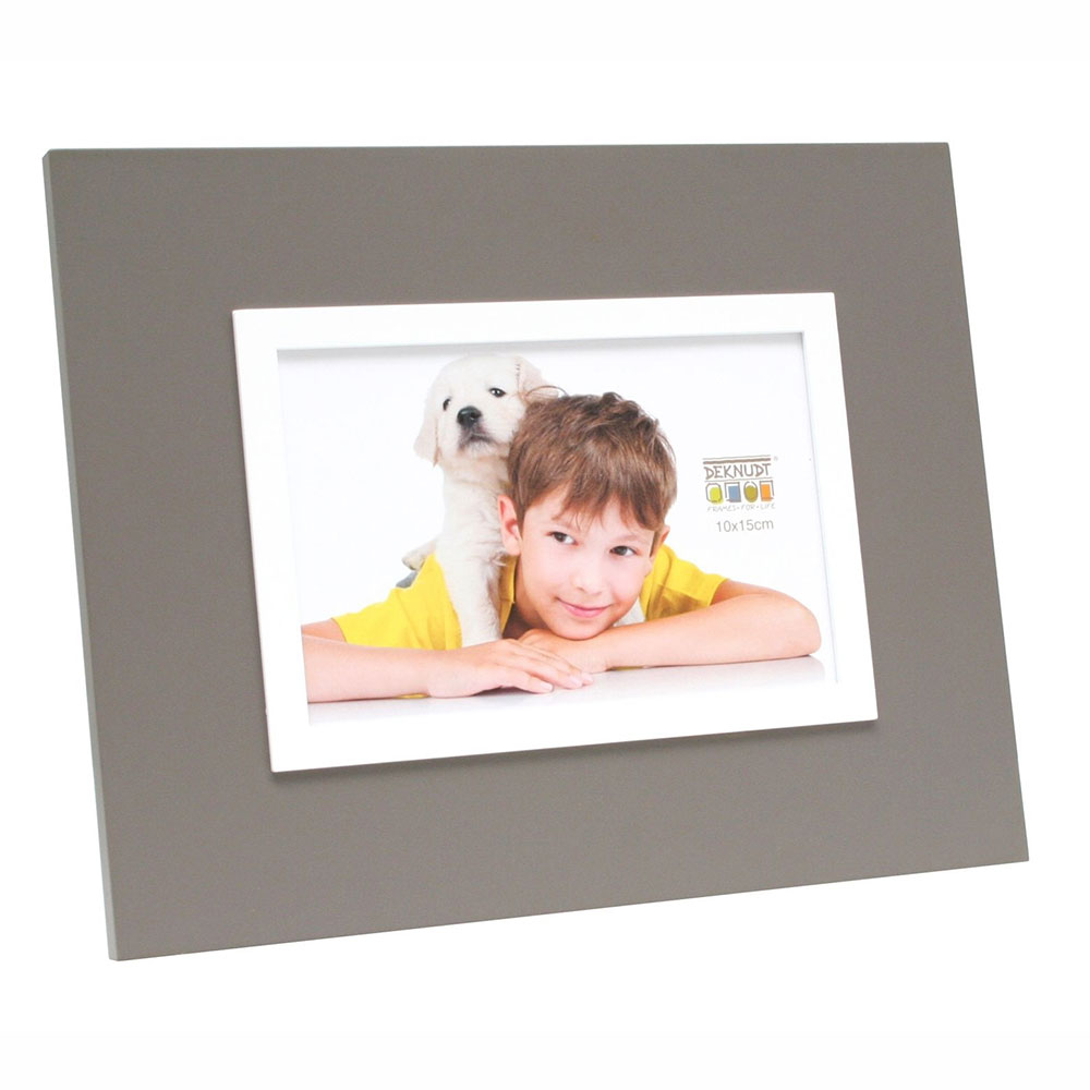 Holz-Bilderrahmen Eik Grau mit weißer Innenkante