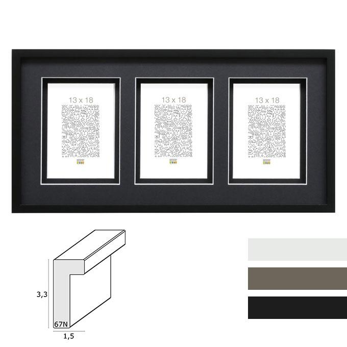 Galerie-Bilderrahmen Lanklaar für 3 Bilder mit Doppelpassepartout