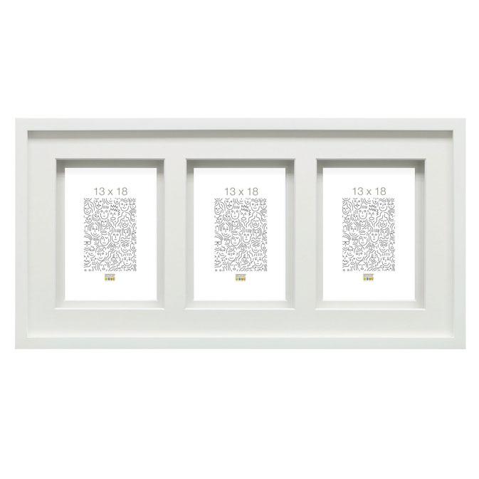 Galerie-Bilderrahmen Lanklaar für 3 Bilder mit Doppelpassepartout Weiß