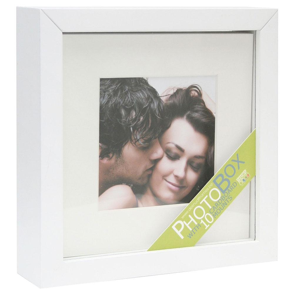 Fotodose mit Passepartouts und selbstklebendem Karton Weiß