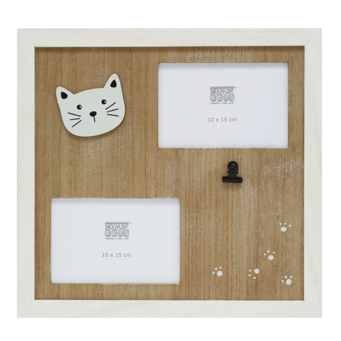 Galerierahmen Katze mit Holzpassepartout für 2 Bilder