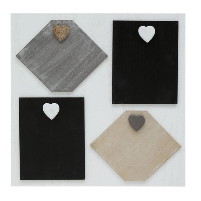Weiße Memowand mit Magneten für 4 Bilder oder Karten
