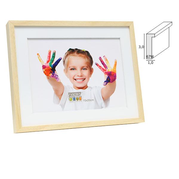 Holz-Bilderrahmen Voort mit weißem Holzpassepartout