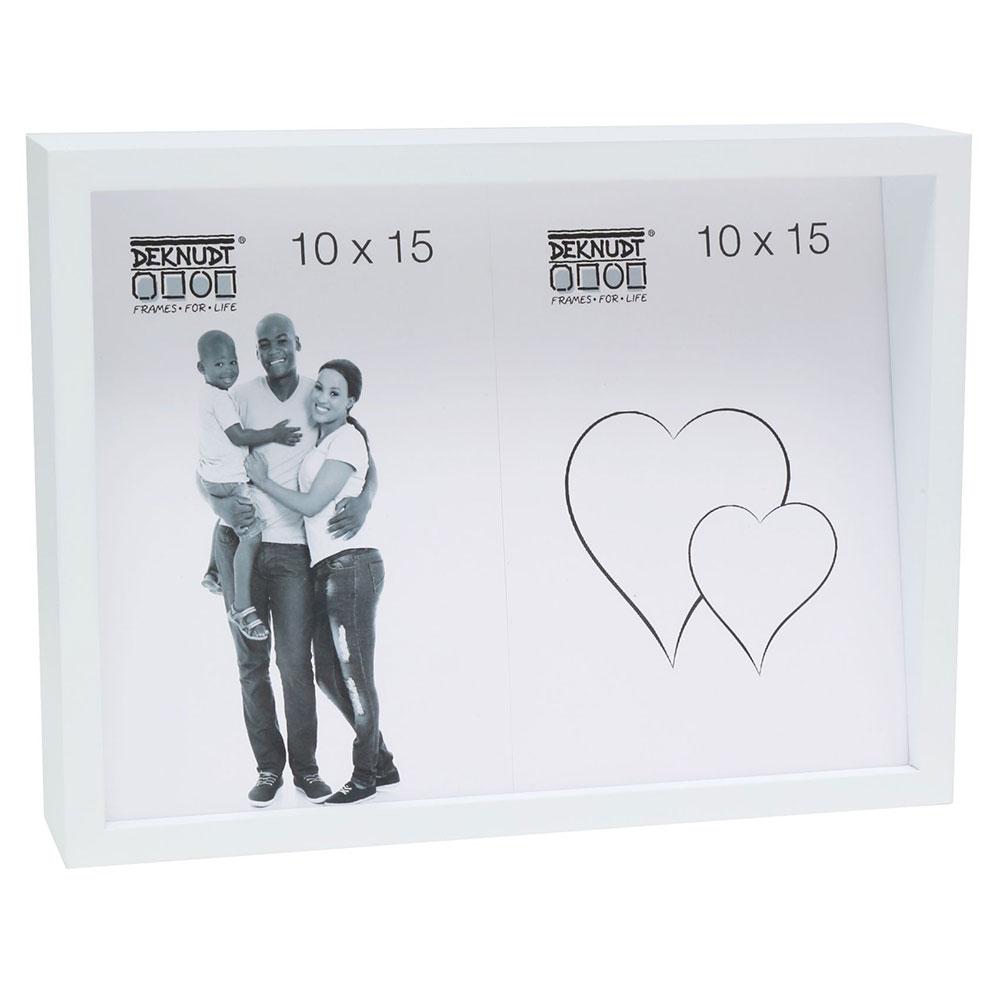 Fotorahmen mit schräger Rückwand für 2 Bilder Weiß