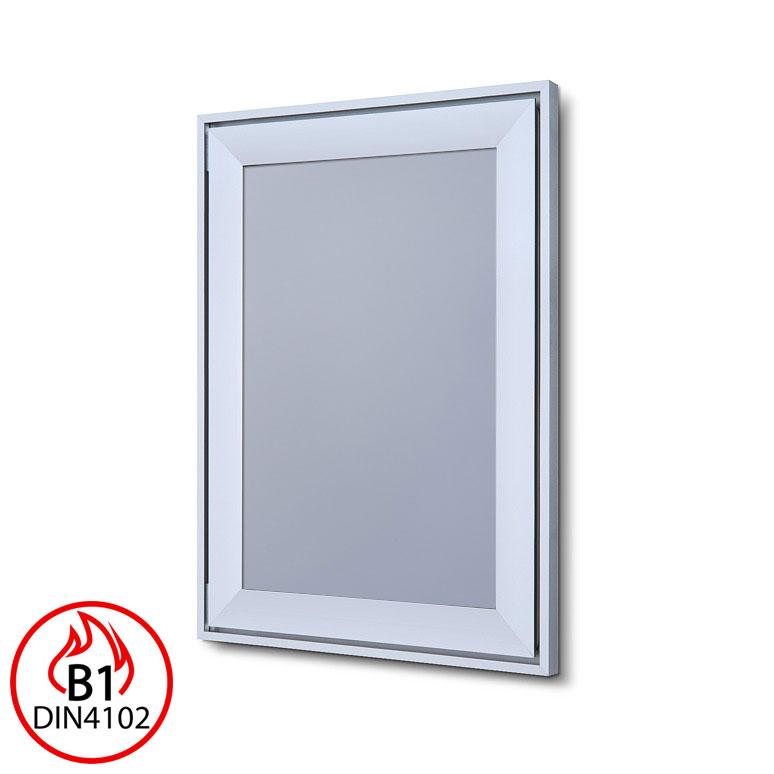 B1 Brandschutz-Klapprahmen Compasso Silber eloxiert 21x29,7 cm (A4)