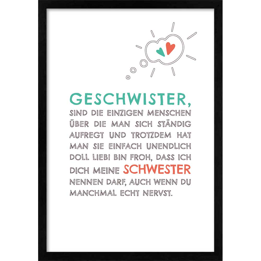 Familie - Liebste Schwester Schwarz (Holz)