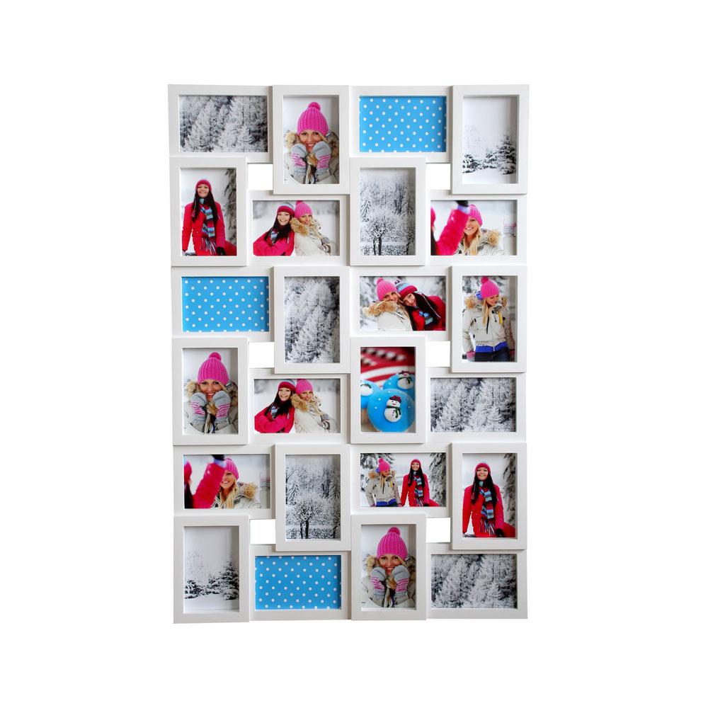 euratio galerierahmen f r 24 fotos 24x 10x15 cm weiss. Black Bedroom Furniture Sets. Home Design Ideas