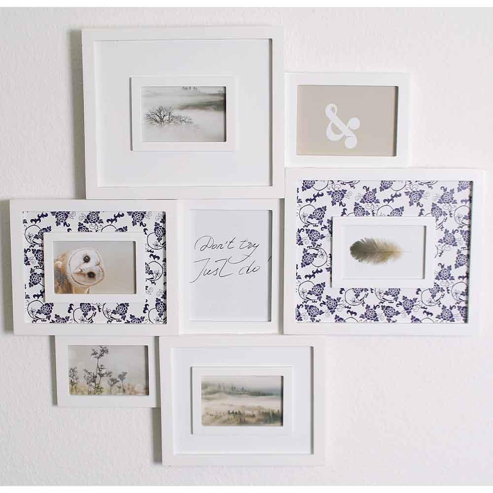 Galerie-Bilderrahmen für 7 Fotos mit buntem Passepartout