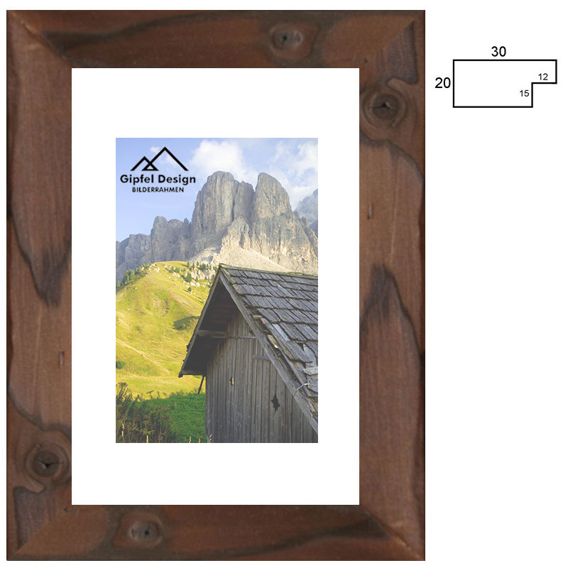 gipfel design holz bilderrahmen hinterri 30 10x15 cm gebrannte fichte ge lt. Black Bedroom Furniture Sets. Home Design Ideas