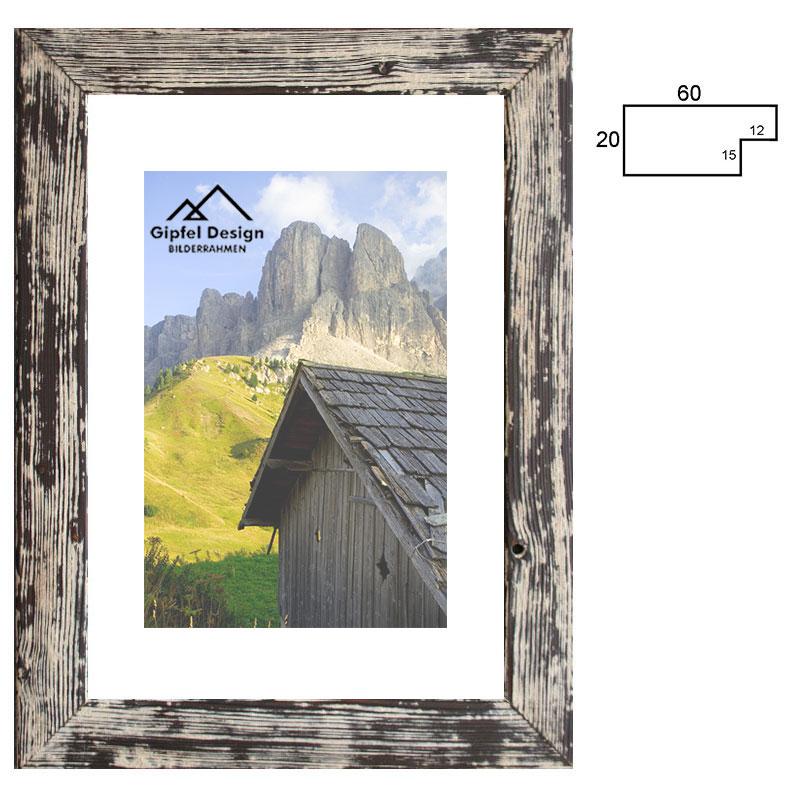 gipfel design holz bilderrahmen inntal 60 60x80 cm gebrannte fichte ge lt und gekalkt. Black Bedroom Furniture Sets. Home Design Ideas
