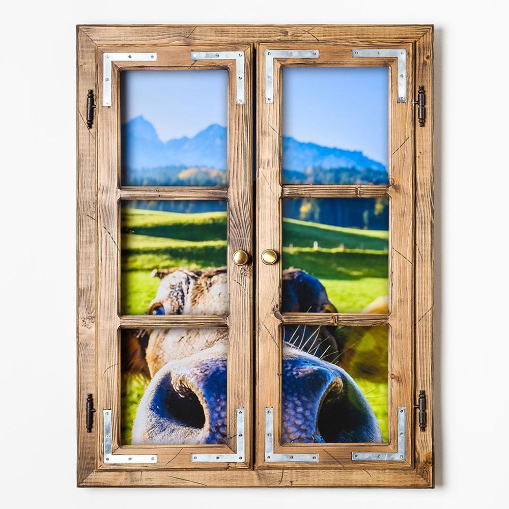 gipfel design dekofenster 60x80 kuh motiv ohne patiniert bild auf forex platte. Black Bedroom Furniture Sets. Home Design Ideas