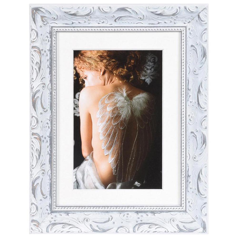 Holz-Bilderrahmen Chic Baroque mit Passepartout Weiß