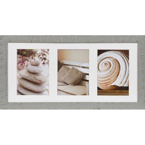 Galerie-Bilderrahmen Driftwood für 3 Bilder Grau