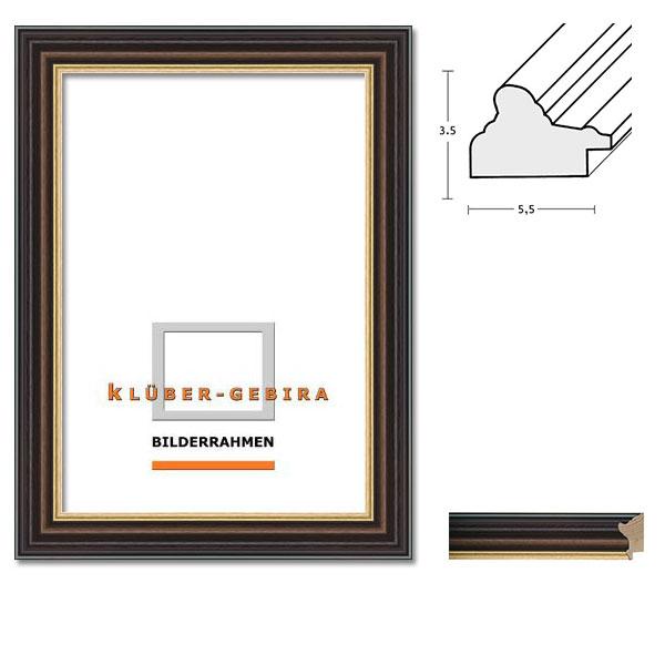 klueber gebira holzrahmen zamora nach ma dunkelbraun platte hellbraun goldkante. Black Bedroom Furniture Sets. Home Design Ideas