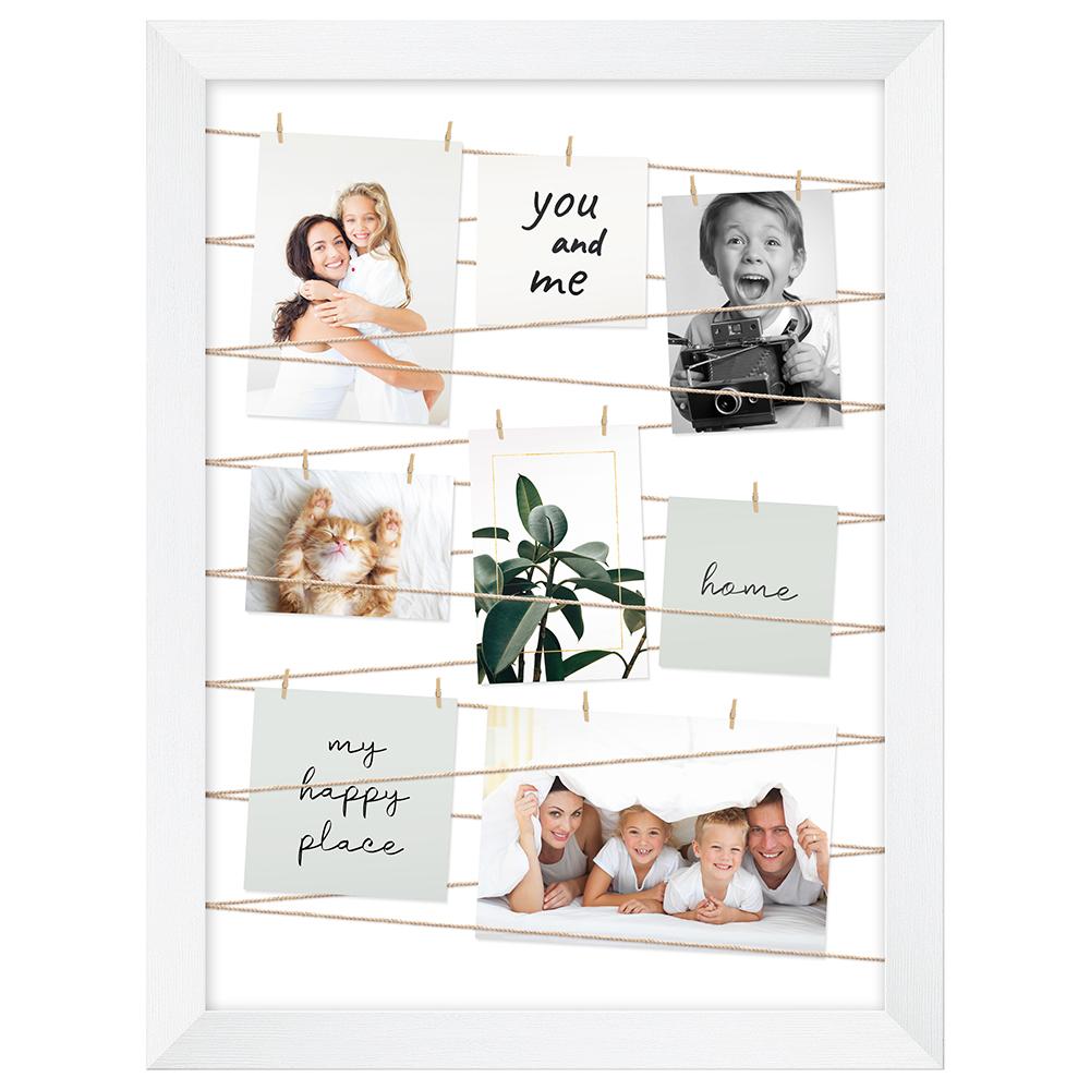Fotogalerie mit Leine für 20 Bilder Weiß gebürstet