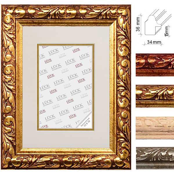 lueck barock bilderrahmen gemmingen mit passepartout 28x35 cm 20x25 cm silber. Black Bedroom Furniture Sets. Home Design Ideas