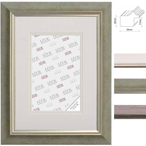 lueck kunststoff bilderrahmen pfaffenhofen mit passepartout 60x80 cm 50x70 cm hellgr n. Black Bedroom Furniture Sets. Home Design Ideas