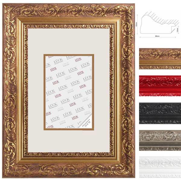 lueck barock bilderrahmen eppingen mit doppel passepartout 40x60 cm 30x45 cm rot. Black Bedroom Furniture Sets. Home Design Ideas