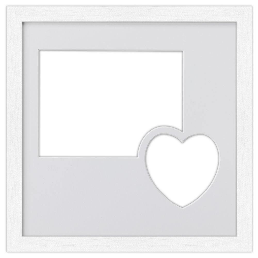 2er Galerierahmen aus Holz in 30x30 cm mit Herz weiß
