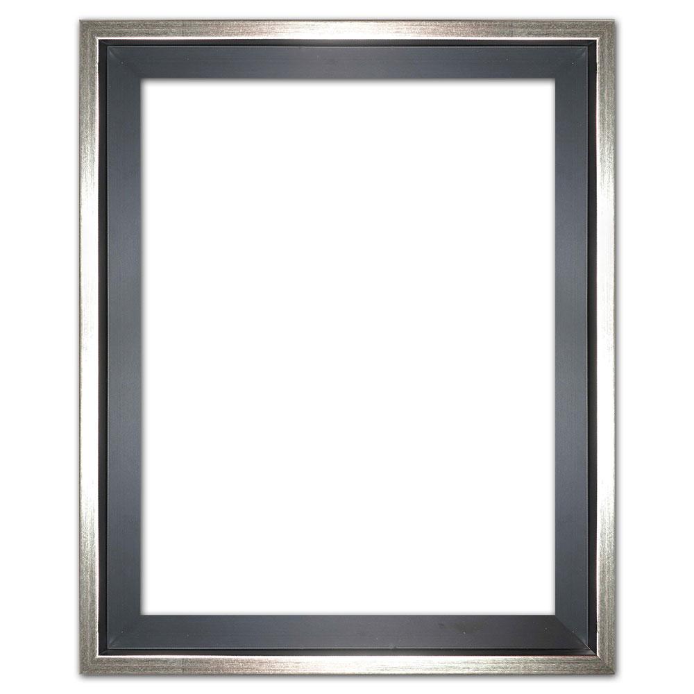 Schattenfugenrahmen Eclipse, Schwarz als Maßanfertigung Schwarz mit Silberkante